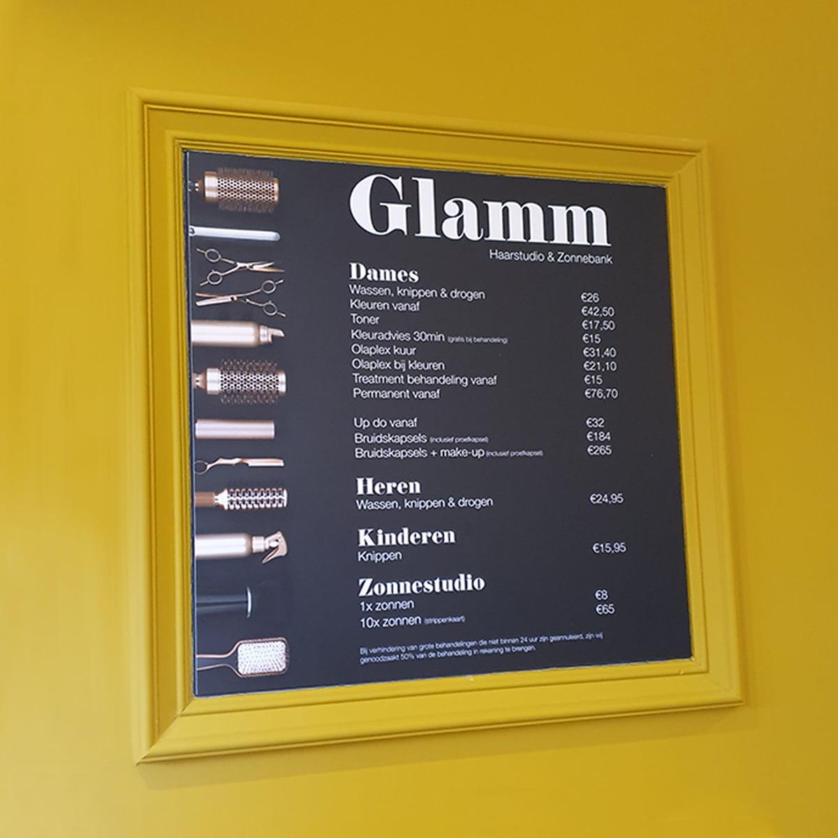 Prijslijst Haarstudio Glamm
